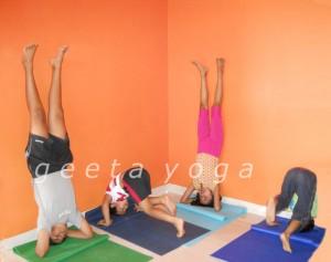 Practicing Sirsasana